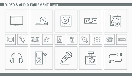 Video and Audio Equipment Icons - Set Web and Mobile 01 Illustration