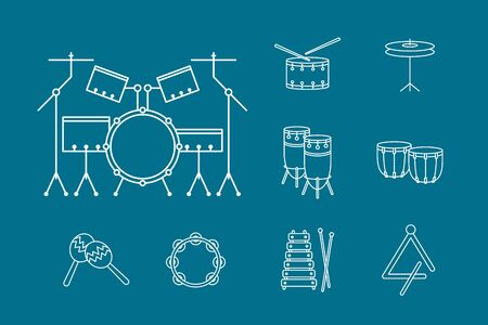 Percussion music instruments Icons set - Vector outline symbols of drum equipment, tambourine, cymbal, bongo, maracas, triangle and xylophone for the site or interface Ilustração