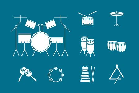 Percussion music instruments Icons set - Vector solid silhouettes of drum equipment, tambourine, cymbal, bongo, maracas, triangle and xylophone for the site or interface