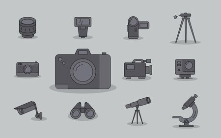 Camera icons set - Vector colored symbols of Photo and Video Equipment for the site or interface Stock Illustratie