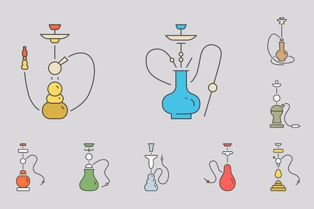 Hookah icons set - Vector color symbols of shisha and smoke for the site or interface