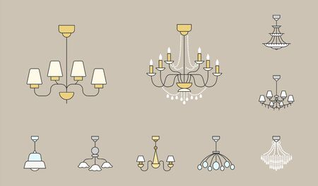 Chandelier Icons Set - Vector colored silhouettes vintage and luxury chandelier Ilustracja