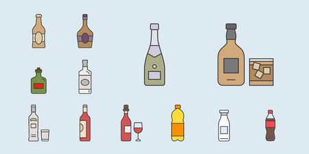 Bottle Icons set - Vector color symbols of drink and alcohol for the site or interface