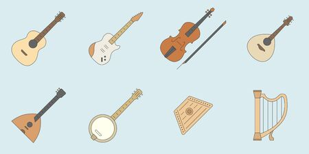 String Music instruments Icons set - Vector outline for the site or interface Иллюстрация