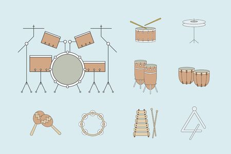 Percussion music instruments Icons set - Vector color symbols of drum equipment, tambourine, cymbal, bongo, maracas, triangle and xylophone for the site or interface Illustration