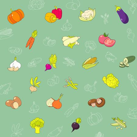 Vegetables Icons set - Vector color symbols of vegetarian food and healthy nutrition for the site or interface