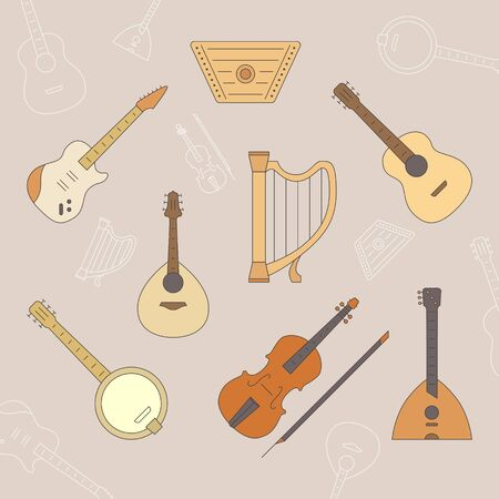 String Music instruments Icons set - Vector color symbols and outline for the site or interface