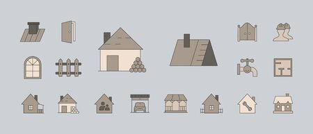 Construction icons set - Vector color symbols and outline of web badges on the topic of repair Çizim