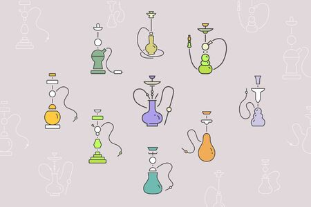 Hookah icons set - Vector color symbols and outline of shisha and smoke for the site or interface