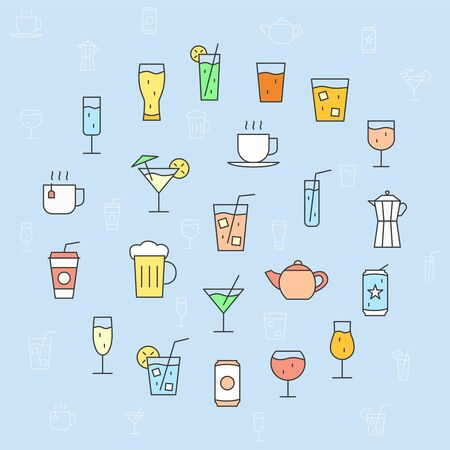 Drink Glass Icons set - Vector color symbols and outline of cocktail and alcohol for the site or interface