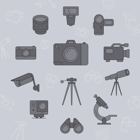 Camera icons set - Vector color symbols and outline of Photo and Video Equipment for the site or interface Stock Illustratie
