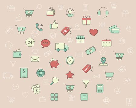 Shopping icons - Vector color symbols and outline of online store and e-commerce for the site or interface Ilustração