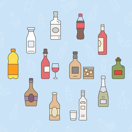 Bottle Icons set - Vector color symbols and outline of drink and alcohol for the site or interface Иллюстрация