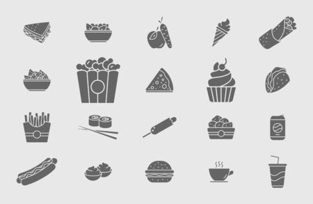 Fast food icons set - Vector solid silhouettes of sandwich, burger, hot dog, meat and desserts for Web or Mobile Ilustração