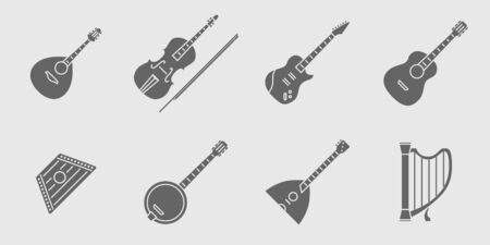 String Music instruments Icons set - Vector solid silhouettes for the site or interface