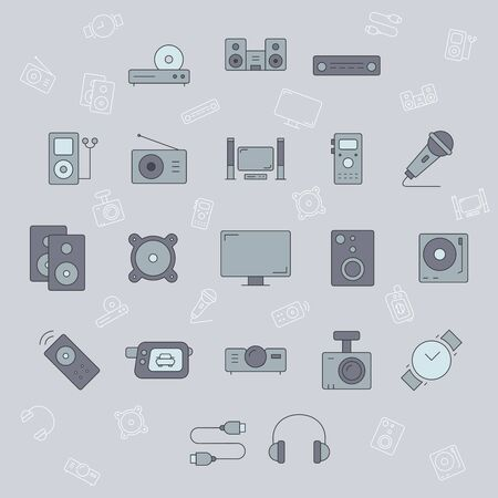 Digital video and audio equipment icons set - Vector color symbols and outline of of media technology and television for the site or interface