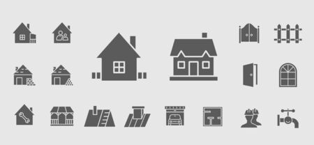 Construction icons set - Vector solid silhouettes on the topic of repair