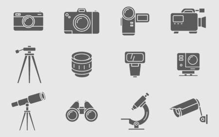 Camera icons set - Vector solid silhouettes of Photo and Video Equipment for the site or interface