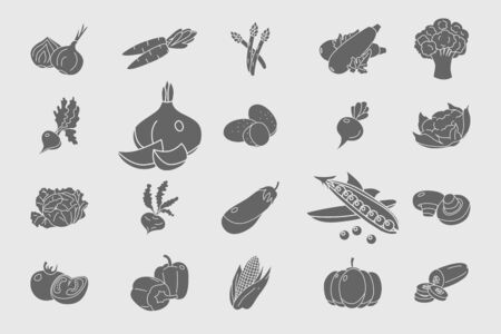 Vegetables Icons set - Vector solid silhouettes of vegetarian food and healthy nutrition for the site or interface
