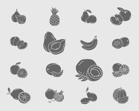 Fruit Icons set - Vector solid silhouettes of vegetarian food for the site or interface Ilustrace