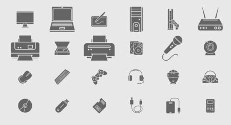 Electronic devices Icons - Vector set symbols of technique and computer for the site or interface
