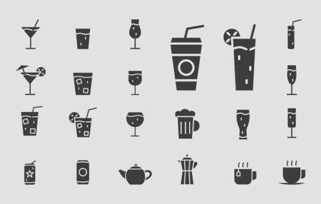 Drink Glass Icons set - Vector solid silhouettes of of cocktail and alcohol for the site or interface