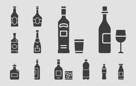 Bottle Icons set - Vector solid silhouettes of drink and alcohol for the site or interface