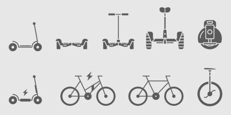 Electric Transport Icons set - Vector solid silhouettes for the site or interface