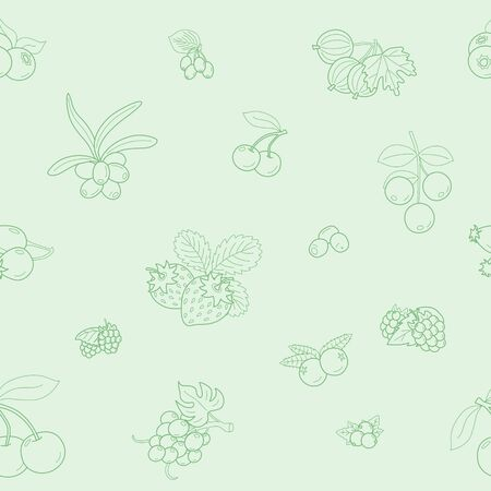 Berry background - Vector seamless pattern of strawberry, raspberry, cherry, blueberry, cloud berry, dog rose and cranberry for graphic design  イラスト・ベクター素材