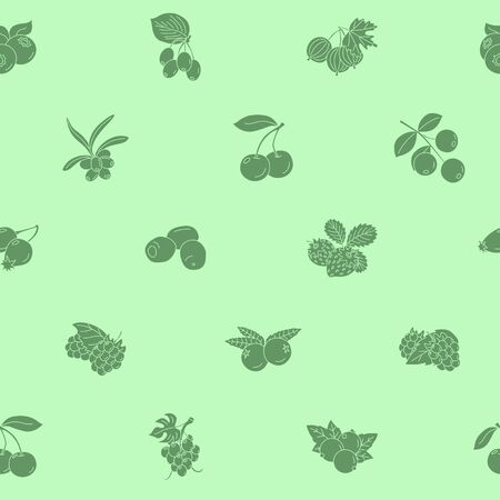 Berry  background - Vector seamless pattern solid silhouettes of strawberry, raspberry, cherry, blueberry, cloud berry, dog rose and cranberry for graphic design  イラスト・ベクター素材