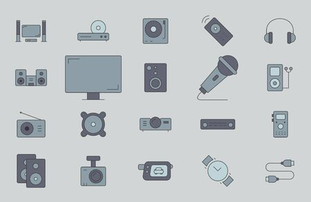 Digital video and audio equipment icons set - Vector color symbols of of media technology and television for the site or interface Çizim