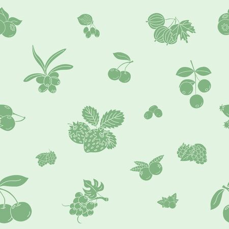 Berry background - Vector seamless pattern solid silhouettes of strawberry, raspberry, cherry, blueberry, cloud berry, dog rose and cranberry for graphic design