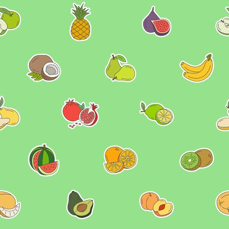 Fruit background - Vector color seamless pattern of vegetarian food for graphic design Ilustrace