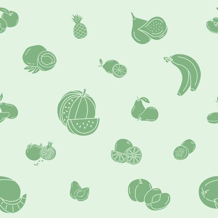 Fruit background - Vector seamless pattern solid silhouettes of vegetarian food for graphic design
