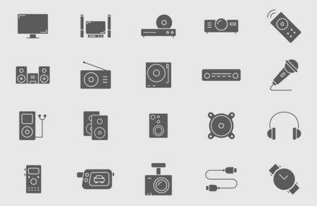 Digital video and audio equipment icons set - Vector solid silhouettes of media technology and television for the site or interface