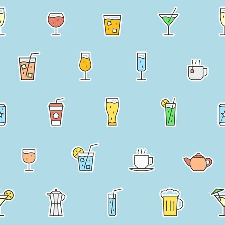 Drink Glass background - Vector color seamless pattern of cocktail and alcohol for graphic design