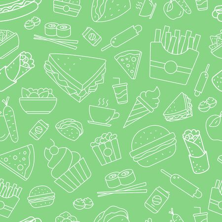 Fast Food background - Vector seamless pattern of sandwich, burger, hot dog, meat and desserts for graphic design