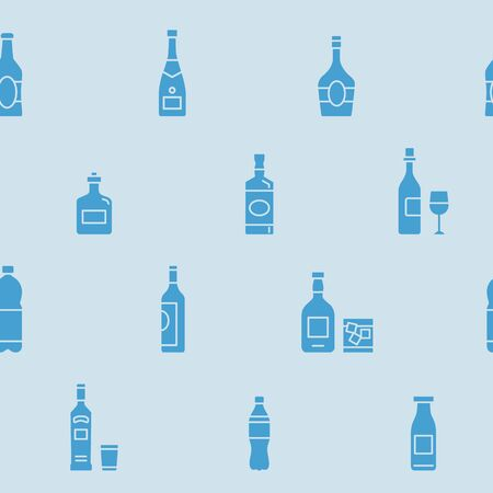 Bottle background - Vector seamless pattern solid silhouettes of drink and alcohol for graphic design