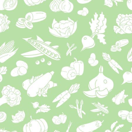 Vegetables background - Vector seamless pattern solid silhouettes of vegetarian food and healthy nutrition for graphic design Stock Illustratie
