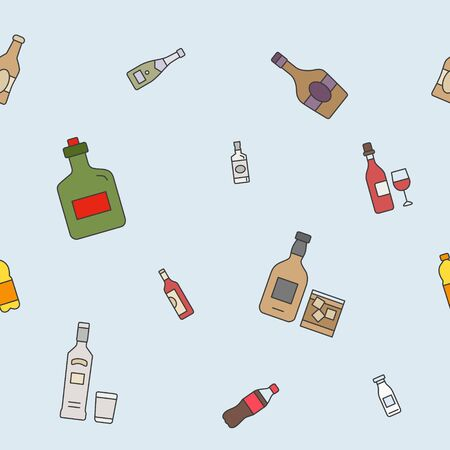Bottle background - Vector color seamless pattern of drink and alcohol for graphic design Illusztráció