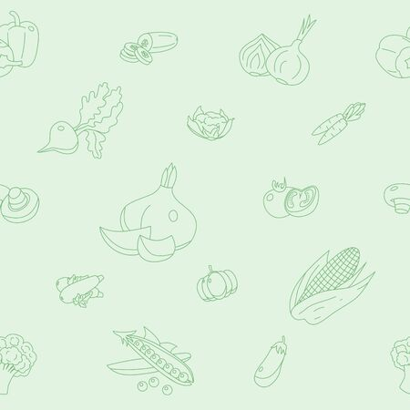 Vegetables background - Vector seamless pattern of vegetarian food and healthy nutrition for graphic design Stock Illustratie