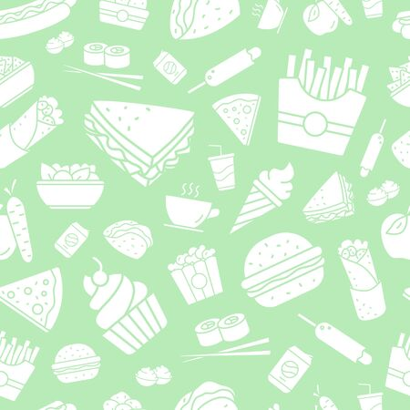 Fast Food background - Vector seamless pattern solid silhouettes of sandwich, burger, hot dog, meat and desserts for graphic design