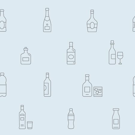 Bottle background - Vector seamless pattern of drink and alcohol for graphic design