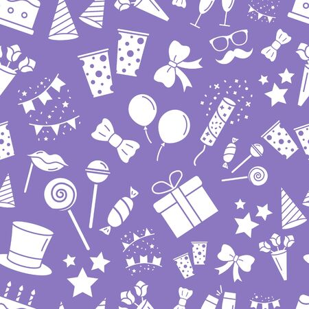 Celebration party background - Vector seamless pattern solid silhouettes of cake, gift, drink, balloon, confetti, hat, fireworks, mask, moustache, lip, candy and etc for graphic design