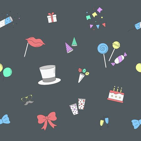 Celebration party background - Vector color seamless pattern of cake, gift, drink, balloon, confetti, hat, fireworks, mask, moustache, lip, candy and etc for graphic design