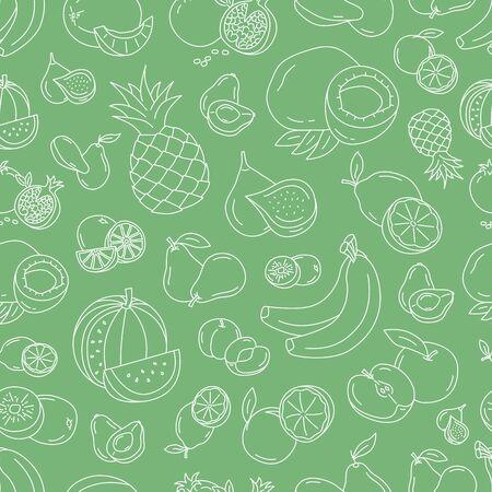 Fruit background - Vector seamless pattern of vegetarian food for graphic design  Иллюстрация