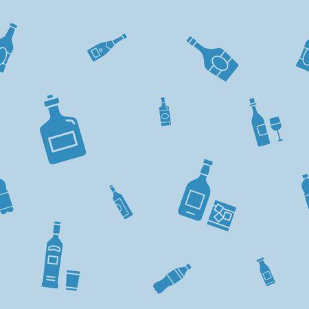 Fondo de la botella - Vector sin patrón siluetas sólidas de bebida y alcohol para diseño gráfico