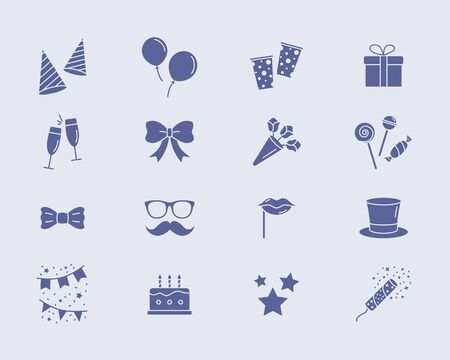 Celebration party Icons set - Vector solid silhouettes of cake, gift, drink, balloon, confetti, hat, fireworks, mask, moustache, lip, candy and etc for the site or interface