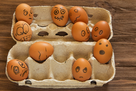 painted eggs: painted eggs smilies Stock Photo