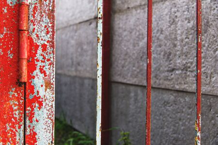 red metal: Vintage red metal fence Stock Photo